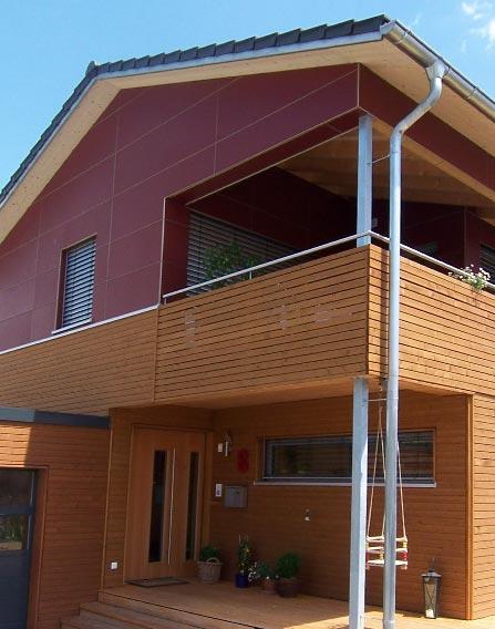 Holzhaus rot Holz modern