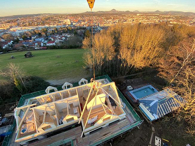Aufstockung Drohnenbild Dachstuhl